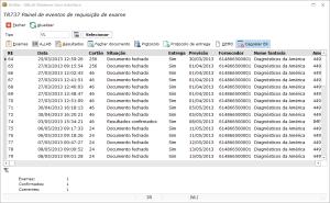 Tela do aplicativo DLWin para interface com a requisição de exame